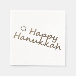 Gold Happy Hanukkah Star Napkins Paper Napkin