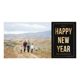 Gold Happy New Year Faux Glitter on Black Custom Photo Card