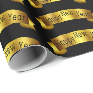 Gold Happy New Year ribbon party wrap Wrapping Paper