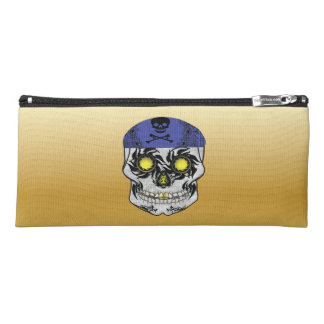 Gold Harley Biker Candy Skull Pencil Case