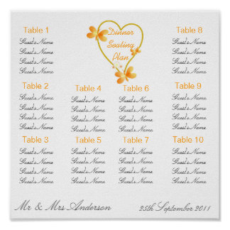 Gold Heart And Butterflies Wedding Dinner Seating  Posters