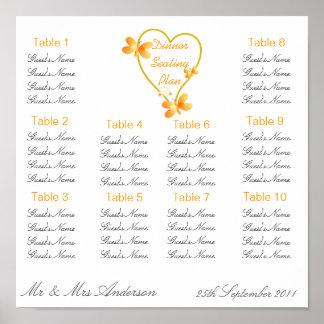 Gold Heart And Butterflies Wedding Dinner Seating  Poster