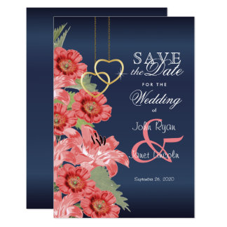Gold Heart and Coral Flowers - Save The Date Card