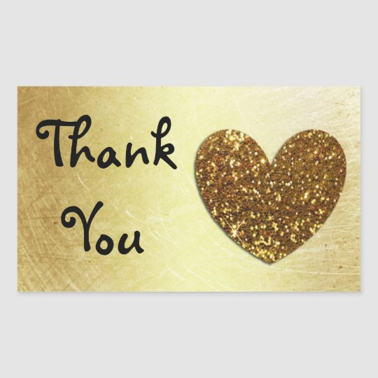 "Gold Heart and Glitter 'Thank You"" Stickers"