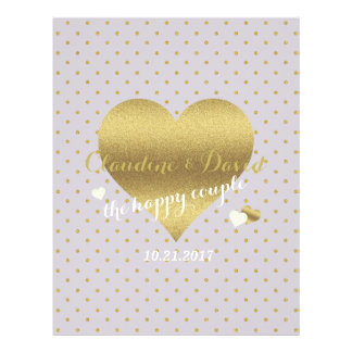 Gold Heart And Lavender Polka Dot Wedding Flyer