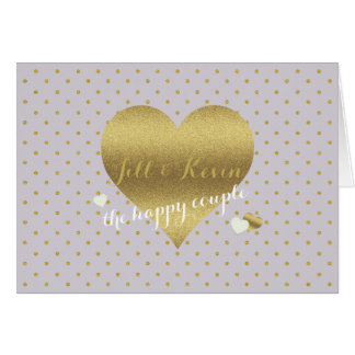 Gold Heart And Lavender Polka Dots Party Note Card