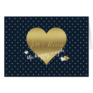 Gold Heart And Navy Polka Dots Party Note Cards
