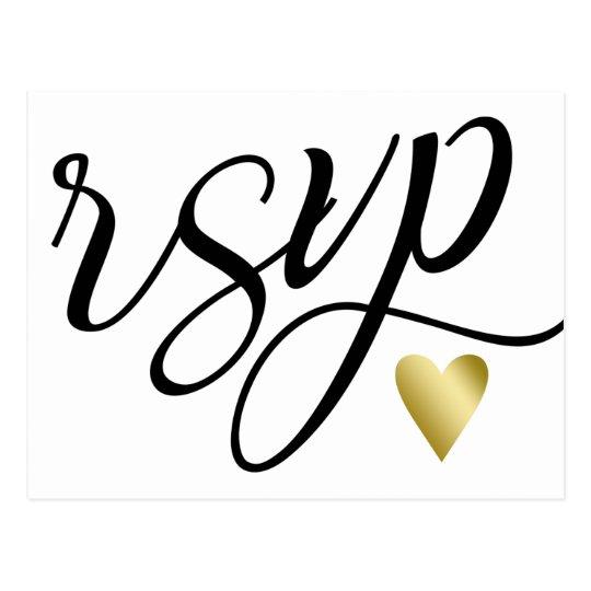 Gold Heart & Black Calligraphy RSVP Postcard