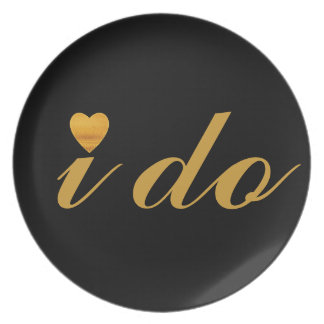 Gold Heart Black I Do Personalized Custom Party Plate