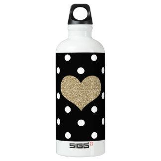 Gold Heart Black/White Polkadots Sigg Water Bottle