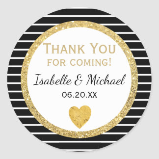 Gold Heart, Black & White Stripes Wedding Stickers