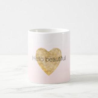 Gold Heart Blush Pink Ombre Hello beautiful Coffee Mug