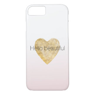 Gold Heart Blush Pink Ombre Hello beautiful iPhone 8/7 Case