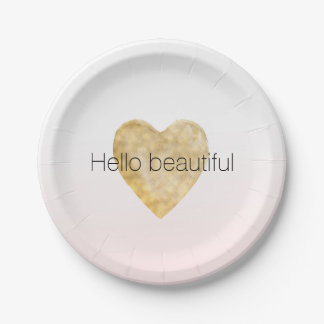 Gold Heart Blush Pink Ombre Hello beautiful Paper Plate