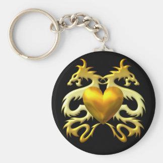 GOLD HEART DRAGONS BASIC ROUND BUTTON KEYCHAIN