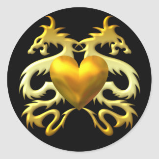 GOLD HEART DRAGONS CLASSIC ROUND STICKER