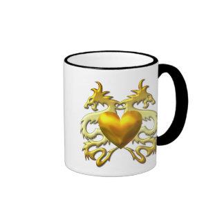 GOLD HEART DRAGONS COFFEE MUG