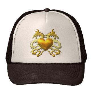 GOLD HEART DRAGONS MESH HATS
