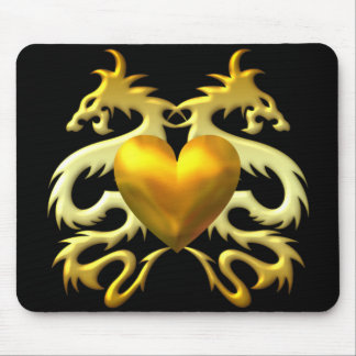 GOLD HEART DRAGONS MOUSEPAD