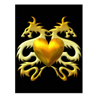 GOLD HEART DRAGONS POST CARDS
