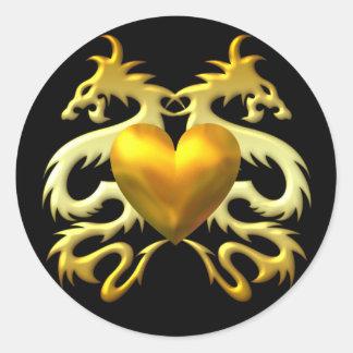 GOLD HEART DRAGONS ROUND STICKER