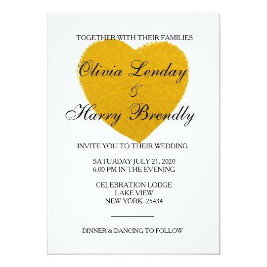 Gold Heart - Faux Foil Wedding Card