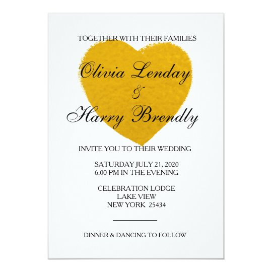 Gold Heart - Faux Foil Wedding Invitation