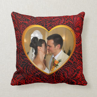 Gold Heart Frame with Red Fabric Add Photo Pillow