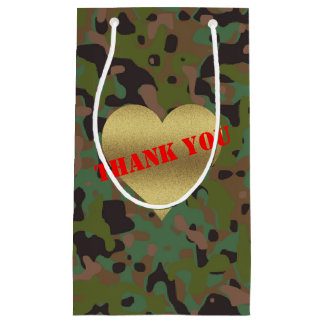 Gold Heart GI Camouflage Party Gift Bag