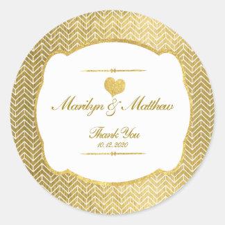 Gold Heart Gold Chevron Wedding Thank You Classic Round Sticker