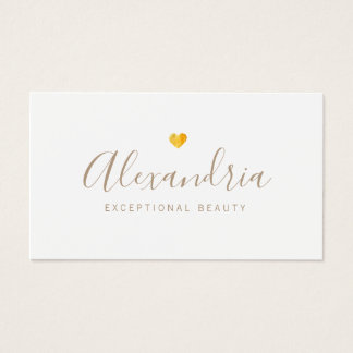 Gold Heart  Handwritten Script Calligraphy Business Card