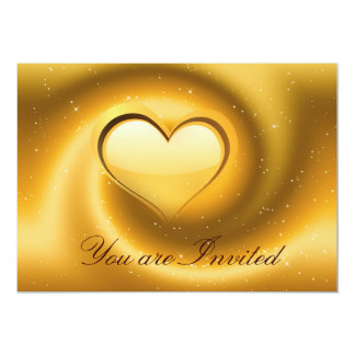 Gold Heart Invitation Card