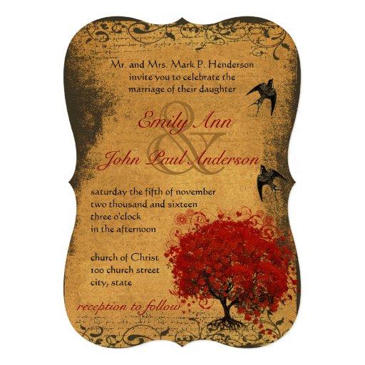 Gold Heart Leaf Red Tree Vintage Birds Wedding Announcement