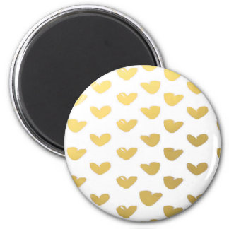 Gold Heart Love Holiday 2 Inch Round Magnet