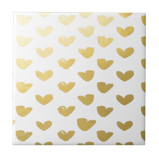 Gold Heart Love Holiday Tile