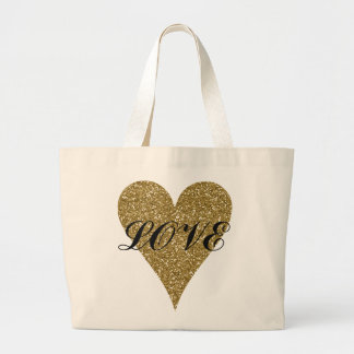 Gold heart love tote