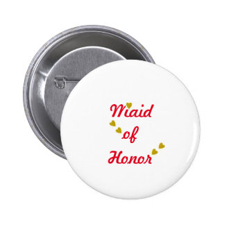 Gold Heart Maid of Honor 2 Inch Round Button