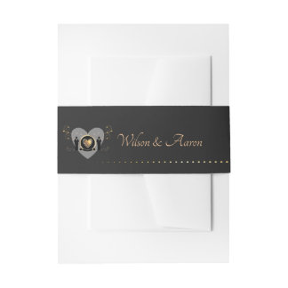 Gold Heart Male Wedding | Belly Band Invitation Belly Band