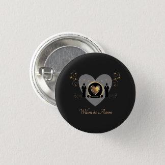 Gold Heart Male Wedding | Button