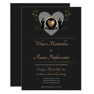 Gold Heart Male Wedding | Invitation