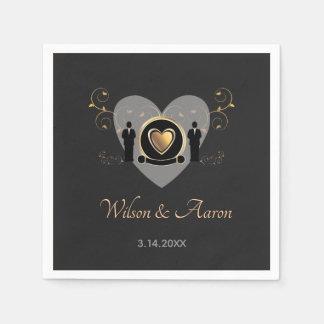 Gold Heart Male Wedding | Paper Napkin