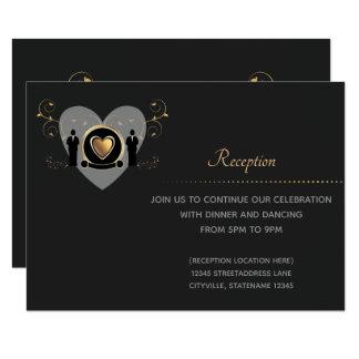 Gold Heart Male Wedding | Reception Card