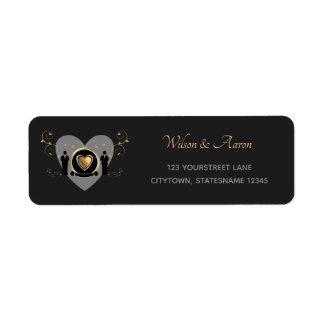 Gold Heart Male Wedding | Return Address Labels