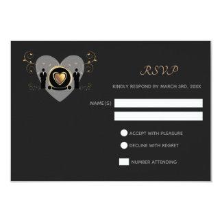 Gold Heart Male Wedding | RSVP card