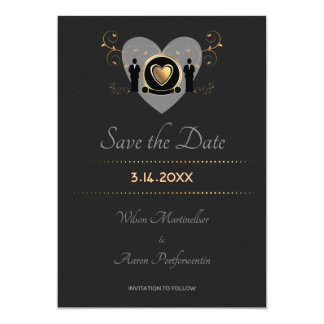 Gold Heart Male Wedding | Save the Date Card
