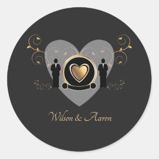 Gold Heart Male Wedding | Sticker