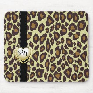 Gold Heart Monogram Leopard Mousepad