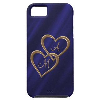 Gold heart monograms indigo iPhone 5 cover