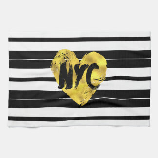 Gold Heart, NYC, Black and White Towel