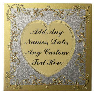 Gold Heart On Decorative Gold & Silver Border Tile